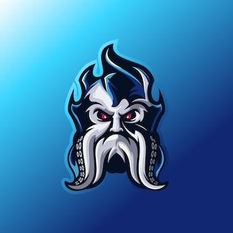 Diseño de logotipo de cabeza de kraken
