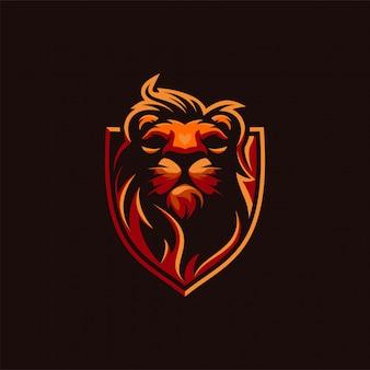 Diseño de logotipo de cabeza de león premium