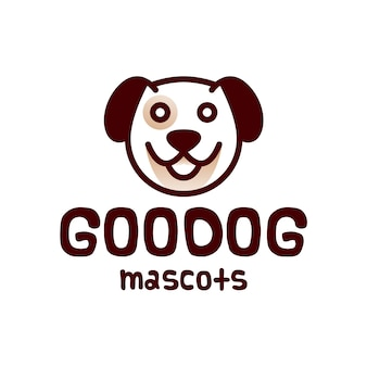 Diseño de logotipo de cabeza de perro redonda