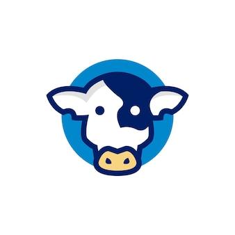 Diseño de logotipo de cabeza de vaca