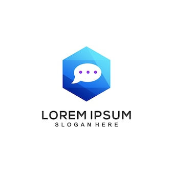 Diseño de logotipo de caja de chat