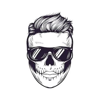 Diseño de logotipo de calavera punk