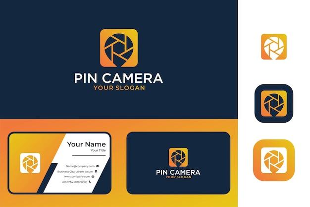 Diseño de logotipo de cámara pin moderno y tarjeta de visita