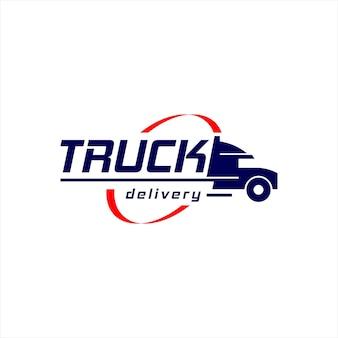 Diseño de logotipo de camión logístico transporte de remolque carga urgente