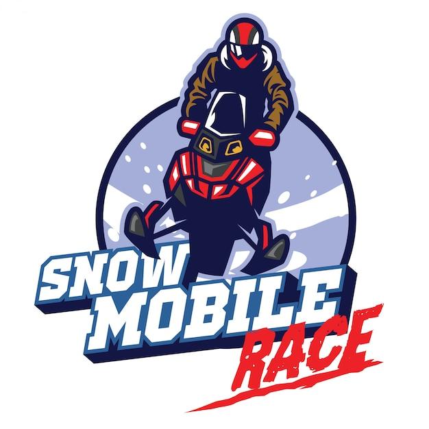 Diseño de logotipo de carrera de motos de nieve
