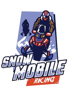 Diseño de logotipo de carreras de motos de nieve
