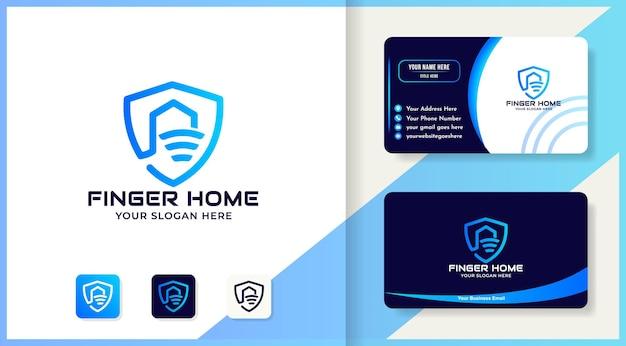 Diseño de logotipo de casa de escudo de huella digital abstracta y tarjeta de visita