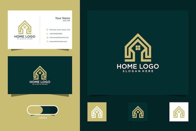Diseño de logotipo de casa con estilo de línea y tarjeta de visita.