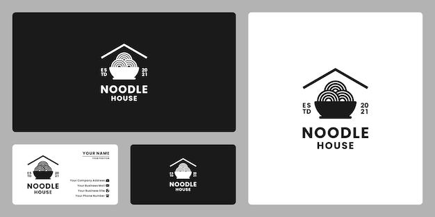 Diseño de logotipo de casa de fideos retro minimalista vintage