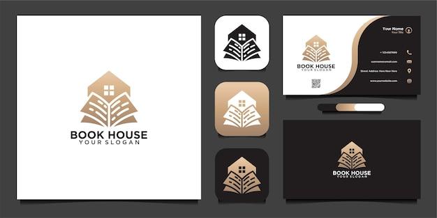 Diseño de logotipo de casa de libro y tarjeta de visita