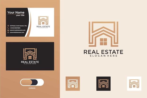 Diseño de logotipo de casa de lujo moderno y tarjeta de visita
