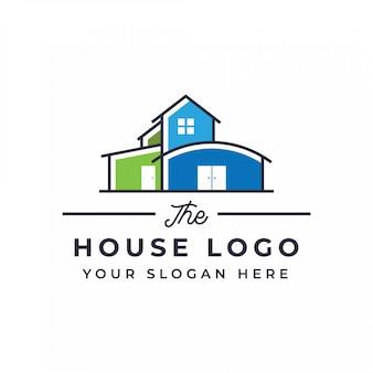 Diseño de logotipo de casa plana
