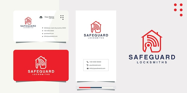 Diseño de logotipo de casa de señal de internet y tarjeta de visita.