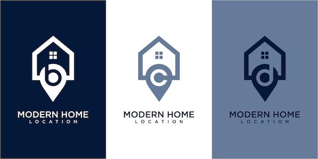 Diseño de logotipo de casa de ubicación. diseño de logotipo de ubicación. concepto de logotipo de inicio. inspiración para el diseño del logotipo de casa y ubicación