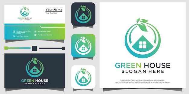 Diseño de logotipo de casa verde