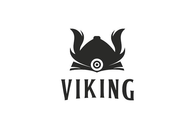 Diseño de logotipo de casco vikingo