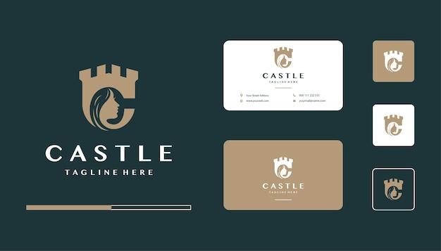 Diseño de logotipo de castillo de belleza, plantilla de tarjeta de visita
