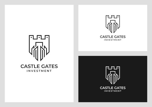 Diseño del logotipo del castillo en estilo de arte lineal