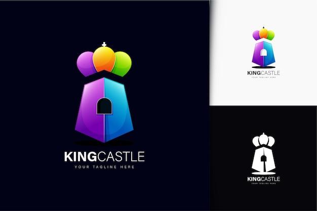 Diseño de logotipo de castillo rey con degradado