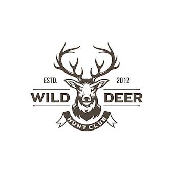 Diseño de logotipo de cazador de ciervos vintage