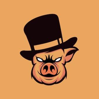 Diseño de logotipo de cerdo