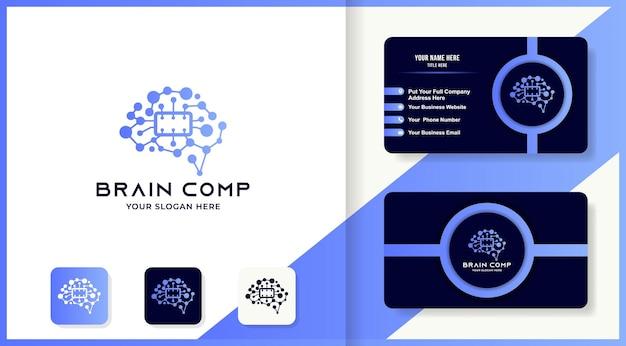 El diseño del logotipo del cerebro del procesador utiliza una molécula de punto y una tarjeta de visita.