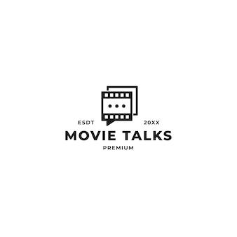Diseño de logotipo de charla de cita de película. tira de rollo de película con concepto de mensaje de marca de voz