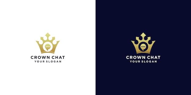 Diseño de logotipo de chat de corona