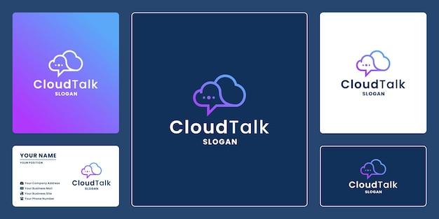 Diseño de logotipo de chat en la nube para tecnología. la nube y el chat de burbujas se combinan
