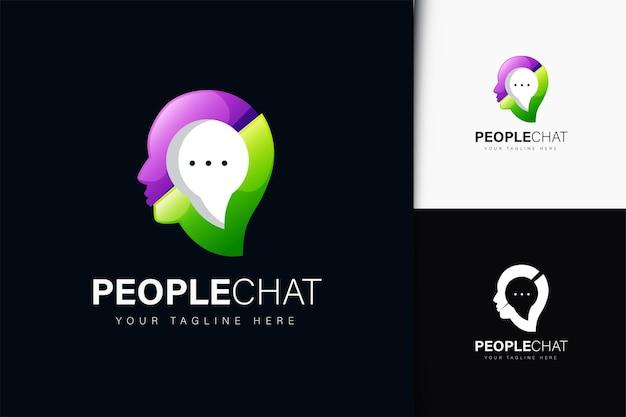 Diseño de logotipo de chat de personas con degradado