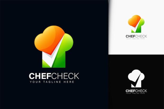 Diseño de logotipo de cheque de chef con degradado