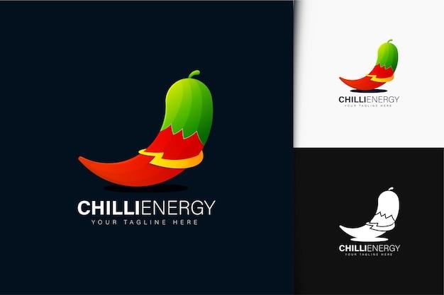 Diseño de logotipo chilli energy con degradado.