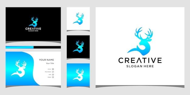 Diseño de logotipo de ciervo con plantilla de tarjeta de visita