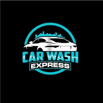 Diseño de logotipo de círculo de lavado de autos