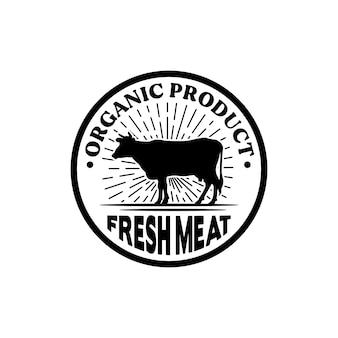 Diseño de logotipo clásico de angus cow bull buffalo farm
