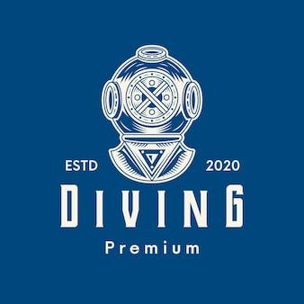 Diseño de logotipo clásico de buceo.
