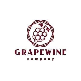 Diseño de logotipo clásico de vino de uva