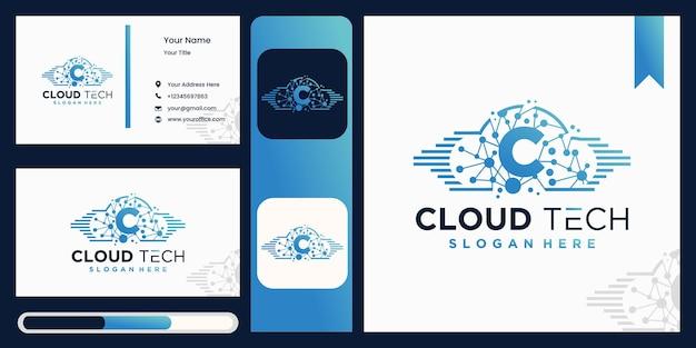 Diseño de logotipo cloud c con tecnología.