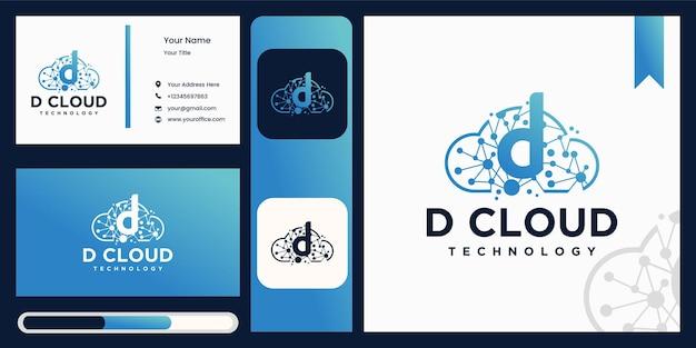 Diseño de logotipo cloud d con tecnología.
