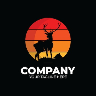 Diseño de logotipo de club de caza de ciervos