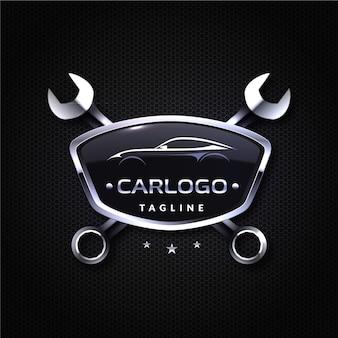 Diseño de logotipo de coche metálico realista con llaves.