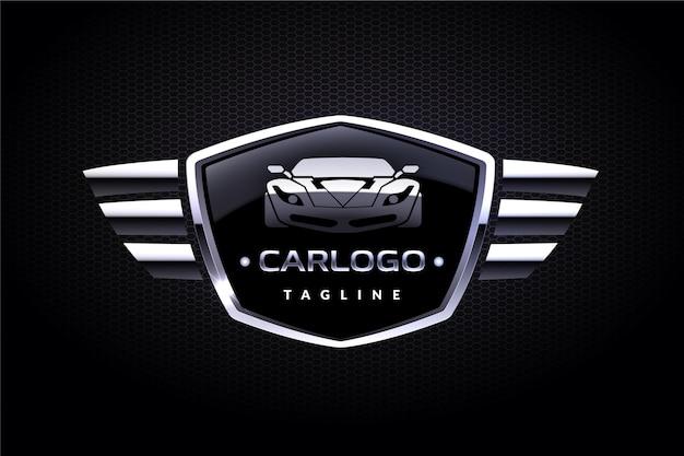 Diseño de logotipo de coche metálico realista.