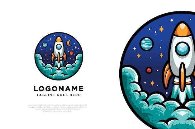 Diseño de logotipo de cohete astronauta