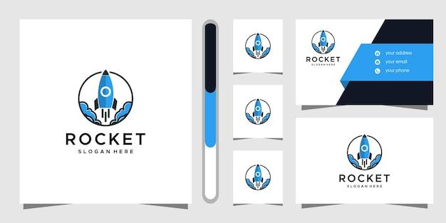 Diseño de logotipo de cohete y plantilla de tarjeta de visita.