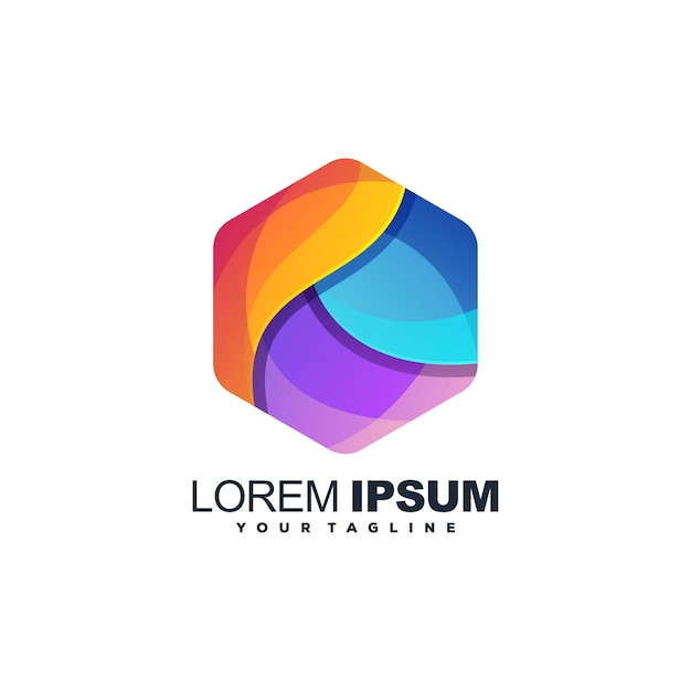 Diseño de logotipo de color abstracto hexagonal