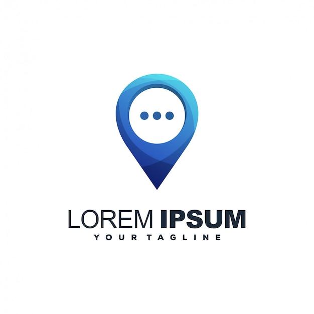 Diseño de logotipo de color de chat pin