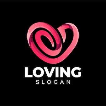 Diseño de logotipo de color degradado de amor