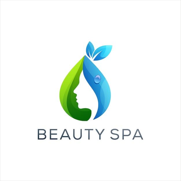 Diseño de logotipo de color degradado de belleza