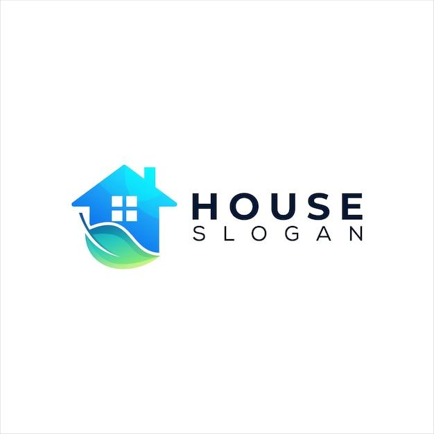 Diseño de logotipo de color degradado de casa