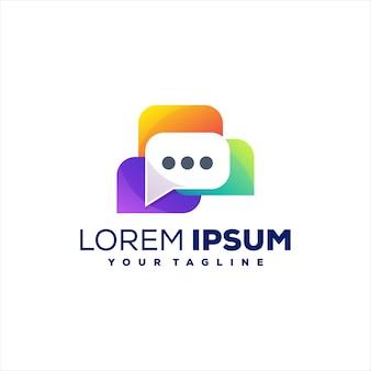 Diseño de logotipo de color degradado de chat